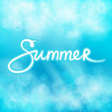 Blue Abstract Background with Text Summer. Soft Glow of the Sun ,Summer Concept, Hand Lettering Calligraphy , Vector Illustration Royalty Free Stock Photography