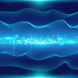 Blue abstract background with waves and particles Royalty Free Stock Image