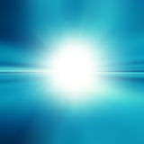 Blue abstract background. With white spot light, abstract tropical horizon with sunburst stock illustration