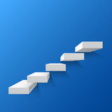 Blue abstract background with white stairs. Steps. Vector illustration Royalty Free Stock Photo
