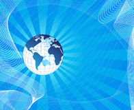 Blue abstract background with world map Royalty Free Stock Images