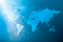 Blue Abstract Background with World Map Royalty Free Stock Image