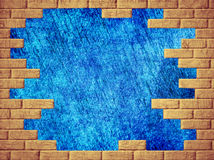 Blue abstract background and yellow brick frame. Royalty Free Stock Images