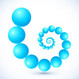 Blue abstract balls vector spiral Stock Photos