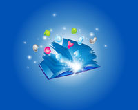 Blue Abstract Book and Letter. Backround Stock Photo