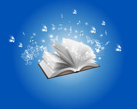 Blue Abstract Book and Melody Backround Stock Photos
