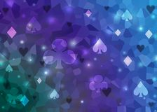 Blue abstract bright poker casino pattern of playing card symbols.  vector illustration