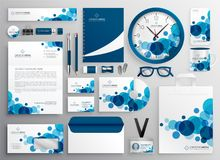 Blue abstract business stationery set. Vector royalty free illustration