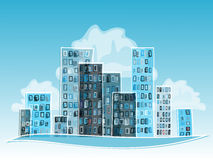 Blue Abstract Cartoon city. Royalty Free Stock Photos
