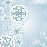 Blue abstract christmas background vector with snowflake and white snow grunge Stock Images