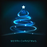 Blue abstract christmas tree design with shiny lines Royalty Free Stock Images
