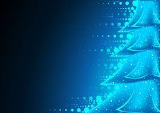 Blue Abstract Christmas Tree Stock Photography