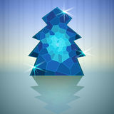 Blue abstract christmas tree vector card Royalty Free Stock Images