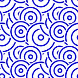 Blue Abstract Circle Pattern Seamless stock illustration