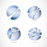 Blue abstract circle sphere set logo Royalty Free Stock Image