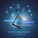 Blue Abstract Cloud Computing Concept Design for Technology with World Map, Tablet PC Stock Images