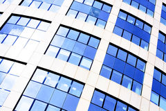 Blue abstract crop of modern office. Skyscraper Royalty Free Stock Image