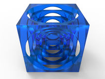 Blue abstract cube Royalty Free Stock Images