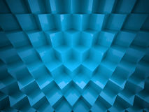Blue abstract cubes background. Rendered Royalty Free Illustration