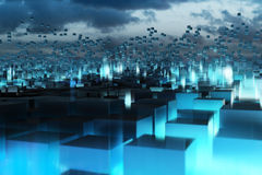 Blue abstract cubes. 3D digital composite Royalty Free Stock Images