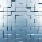 Blue abstract cubes. 3d render image Royalty Free Stock Image