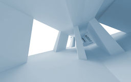 Blue abstract 3d empty interior with perspective. Blue abstract 3d empty interior with bent perspective Stock Photo