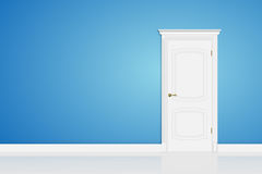 Blue abstract 3D geometrical design door in interior. Vector Stock Images