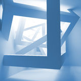 Blue abstract 3d interior with cubes. Blue abstract 3d interior with construction of cubes Stock Photos