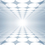 Blue abstract 3d interior with round decoration. Lights pattern on floor and ceiling Royalty Free Stock Images