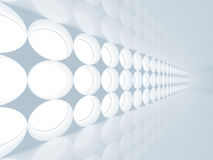 Blue abstract 3d interior with round decoration. Lights pattern on the wall Royalty Free Stock Image