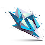 Blue abstract 3D structure polygonal vector object. Cosmic network element. Cybernetic  art deformed figure  on white background Royalty Free Stock Photos