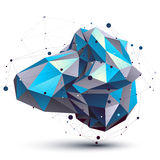 Blue abstract 3D structure polygonal vector object. Cosmic network element. Cybernetic art deformed figure on white background stock illustration