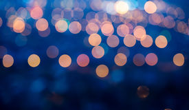 Blue abstract defocused light background for Christmas, panorama Royalty Free Stock Images