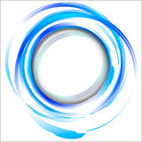 Blue abstract design element with brush strokes. Stock Image