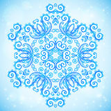 Blue abstract doodle floral circle pattern Royalty Free Stock Photos