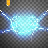 Blue abstract energy shock explosion special light effect with spark. Vector glow power lightning cluster. Electric Royalty Free Stock Photos