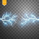 Blue abstract energy shock explosion special light effect with spark. Vector glow power lightning cluster. Electric Royalty Free Stock Image