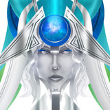 Blue abstract face. Blue abstract fantasy face illustration Royalty Free Stock Image