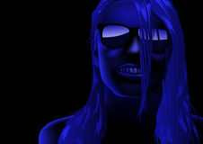 Blue Abstract Female Face. Background Illustration, Vector Stock Photos