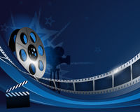 Blue abstract film reel movie background. Design Royalty Free Stock Photos