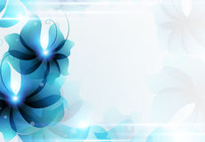 Blue abstract floral card. Transparent blue flowers. Abstract floral card with place for text Royalty Free Stock Photo