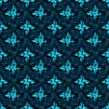 Blue abstract flowers on dark background seamless pattern vector illustration Royalty Free Stock Images