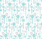 Hand Drawn Floral Vector Pattern. Grey and Blue Twigs, Leaves and Flowers. White Background. Infantile Style Design. stock illustration