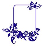 Blue abstract frame. An illustrated frame or border with blue artistic floral designs Royalty Free Stock Photography