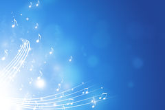 Music Notes Blue Background Stock Photography