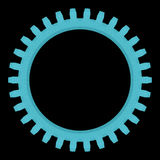 Blue abstract gear, isolated on black Stock Image