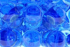Blue abstract geometric background. Blue abstract geometric 3d background with glass balls computer render Royalty Free Stock Photography
