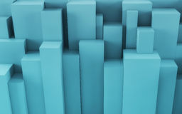 Blue Abstract geometric background from cubes. 3d render Stock Photos
