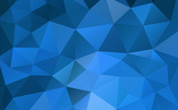 Blue abstract geometric rumpled triangular background low poly style Stock Images