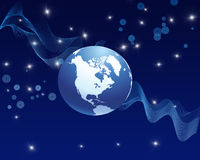 Blue Abstract Globe Background. Blue Abstract Globe and Sparkles Backround Stock Photography